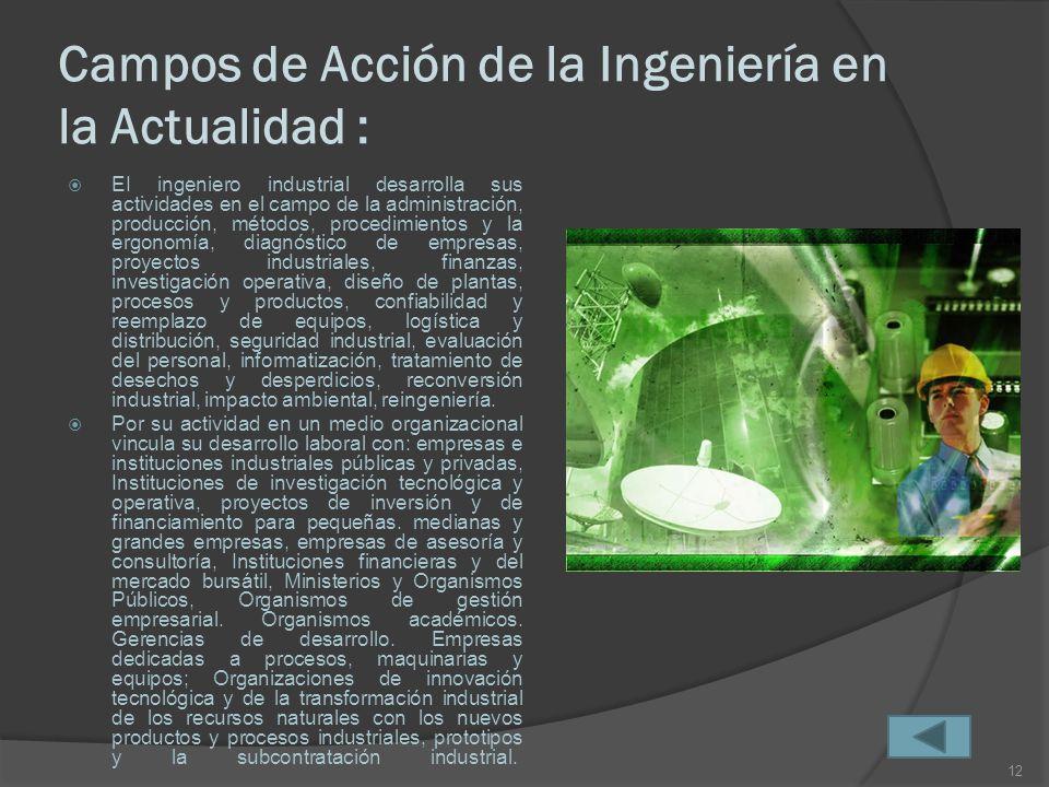 Campos de Acción de la Ingeniería en la Actualidad :