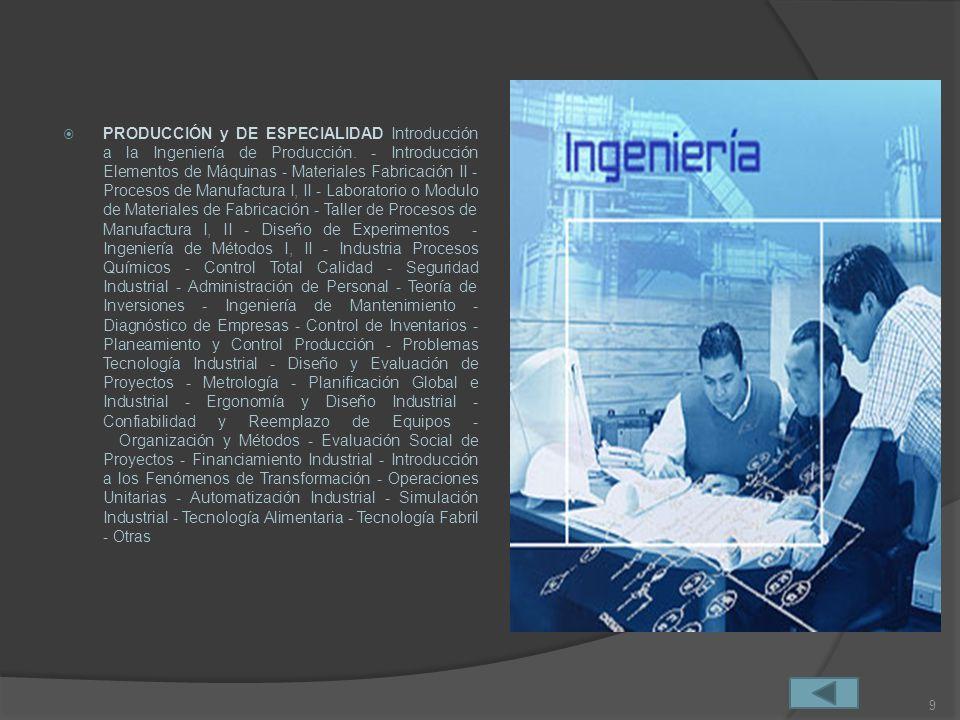 PRODUCCIÓN y DE ESPECIALIDAD Introducción a la Ingeniería de Producción.