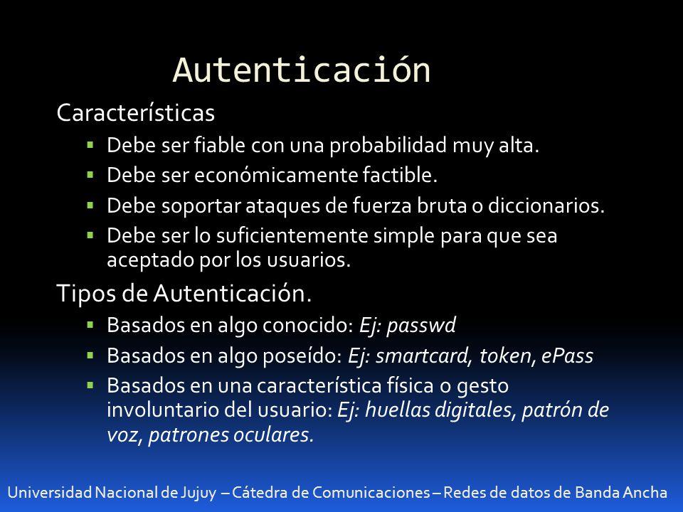 Autenticación Características Tipos de Autenticación.
