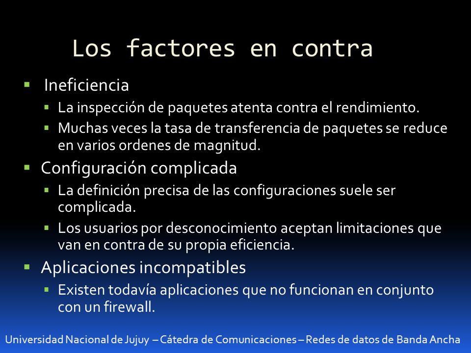 Los factores en contra Ineficiencia Configuración complicada