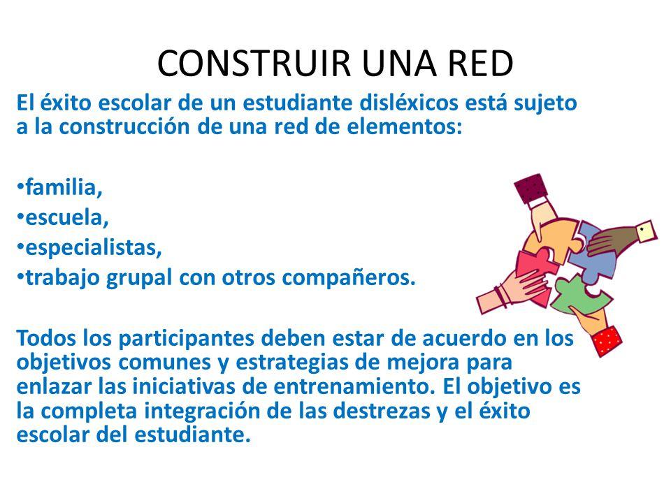CONSTRUIR UNA RED El éxito escolar de un estudiante disléxicos está sujeto a la construcción de una red de elementos: