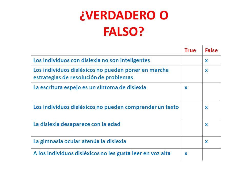 ¿VERDADERO O FALSO True False