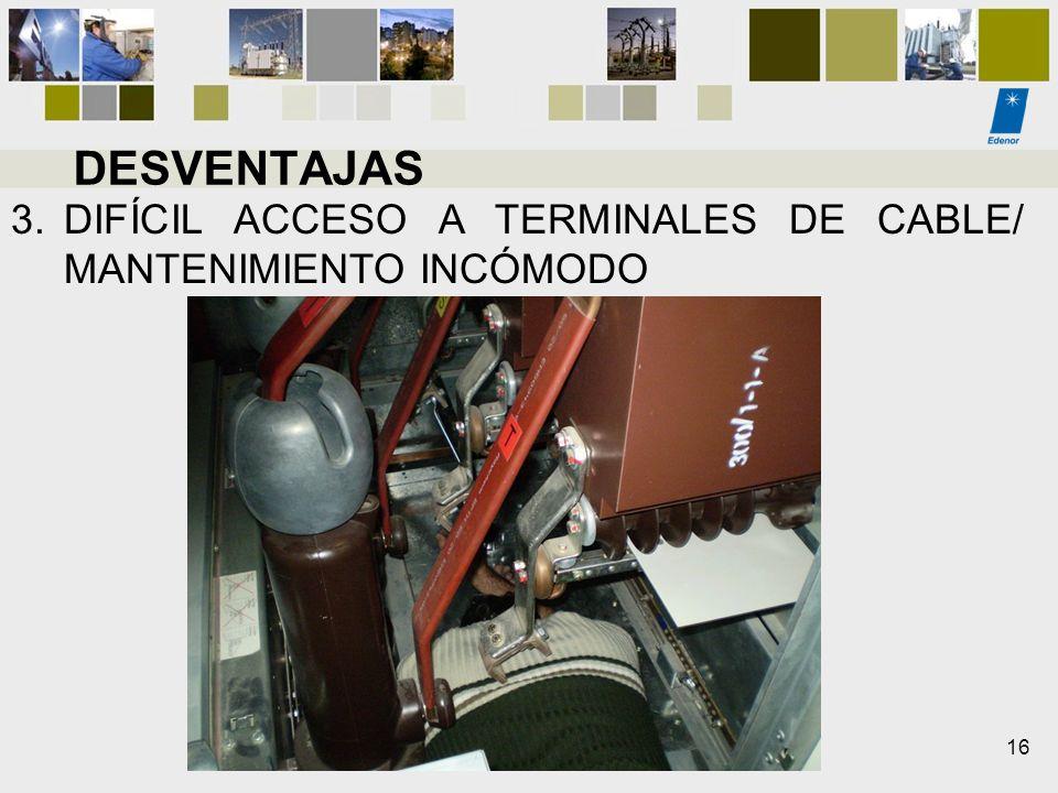 DESVENTAJAS DIFÍCIL ACCESO A TERMINALES DE CABLE/ MANTENIMIENTO INCÓMODO 16