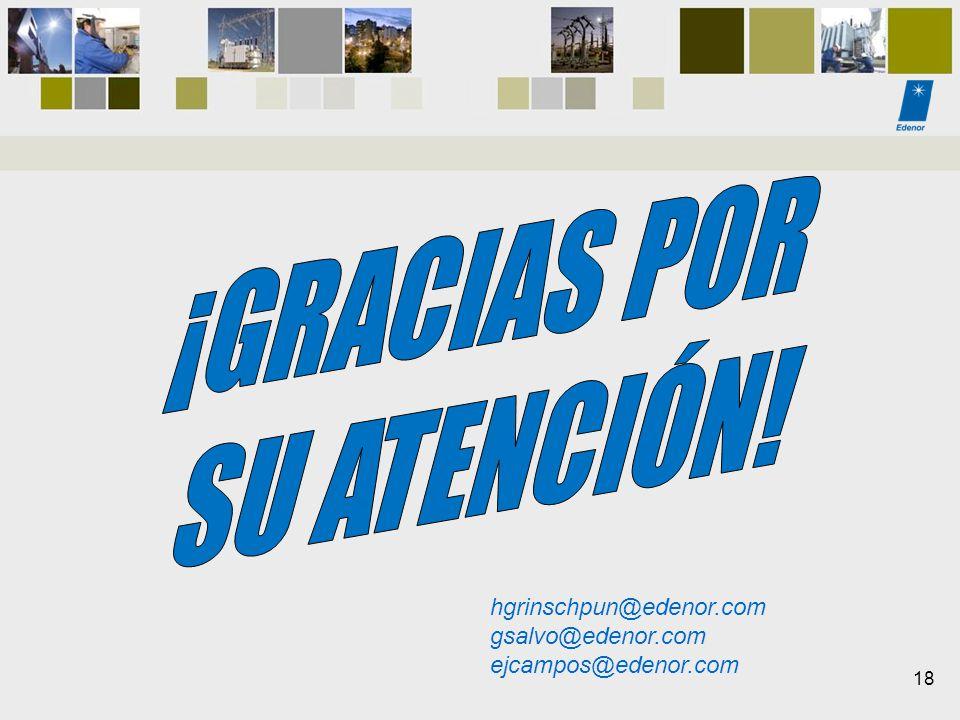 ¡GRACIAS POR SU ATENCIÓN! hgrinschpun@edenor.com gsalvo@edenor.com