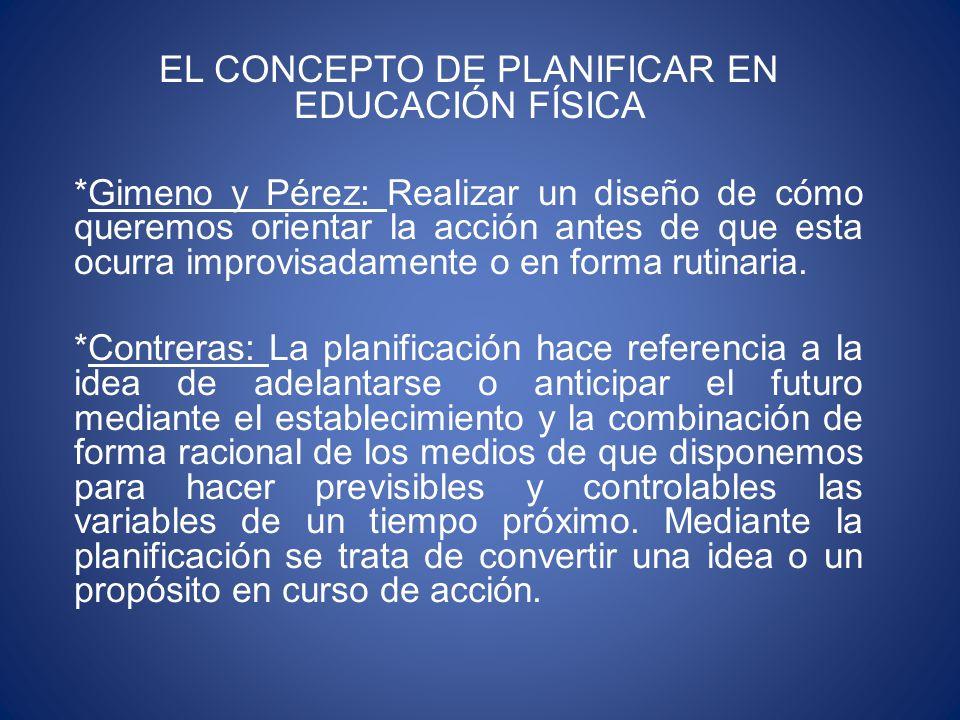 EL CONCEPTO DE PLANIFICAR EN EDUCACIÓN FÍSICA