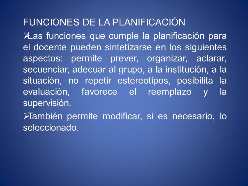 FUNCIONES DE LA PLANIFICACIÓN