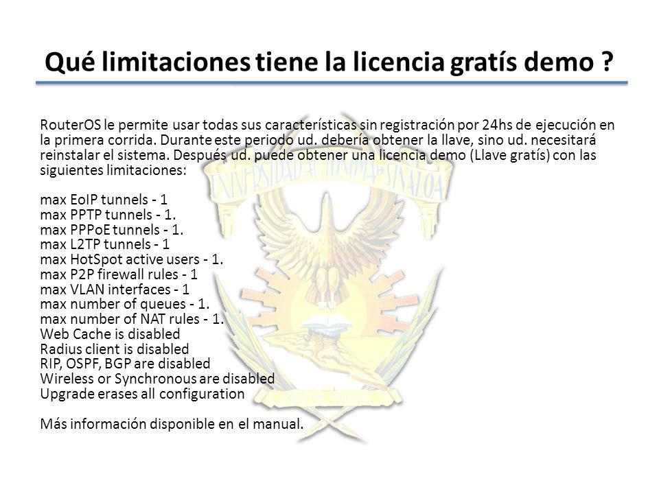 Qué limitaciones tiene la licencia gratís demo
