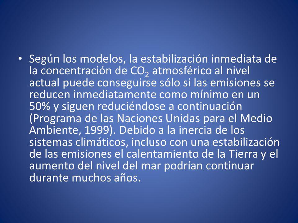 Según los modelos, la estabilización inmediata de la concentración de CO2 atmosférico al nivel actual puede conseguirse sólo si las emisiones se reducen inmediatamente como mínimo en un 50% y siguen reduciéndose a continuación (Programa de las Naciones Unidas para el Medio Ambiente, 1999).
