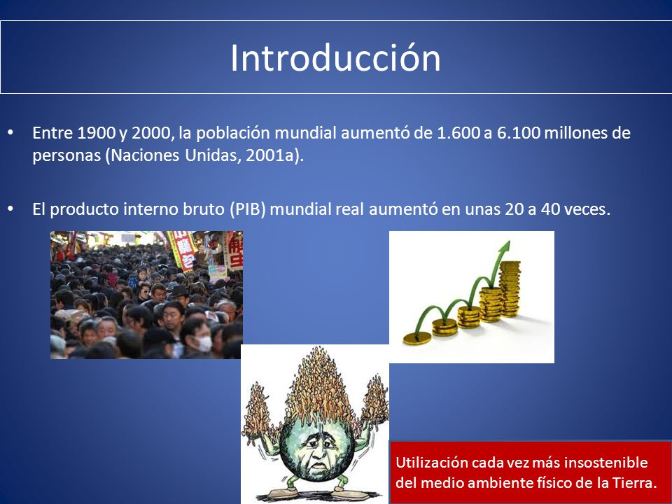 Introducción Entre 1900 y 2000, la población mundial aumentó de 1.600 a 6.100 millones de personas (Naciones Unidas, 2001a).