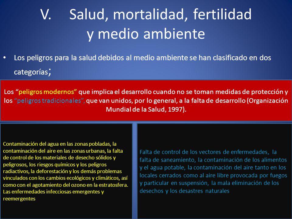 V. Salud, mortalidad, fertilidad y medio ambiente