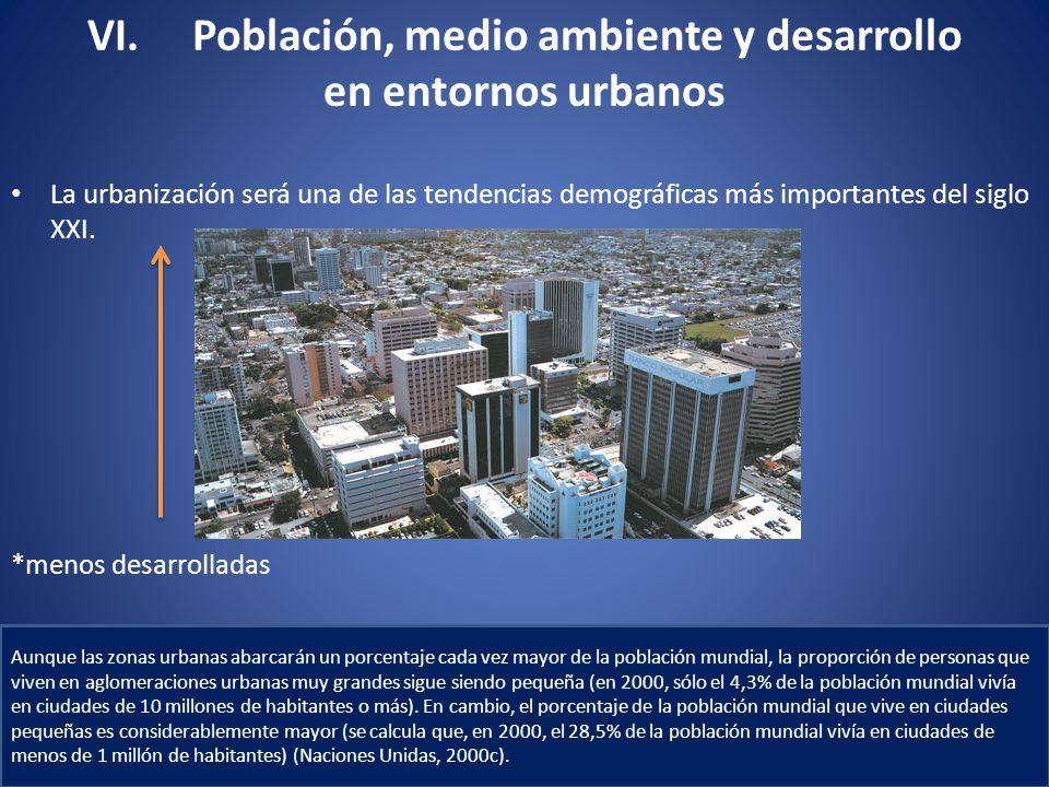 VI. Población, medio ambiente y desarrollo en entornos urbanos