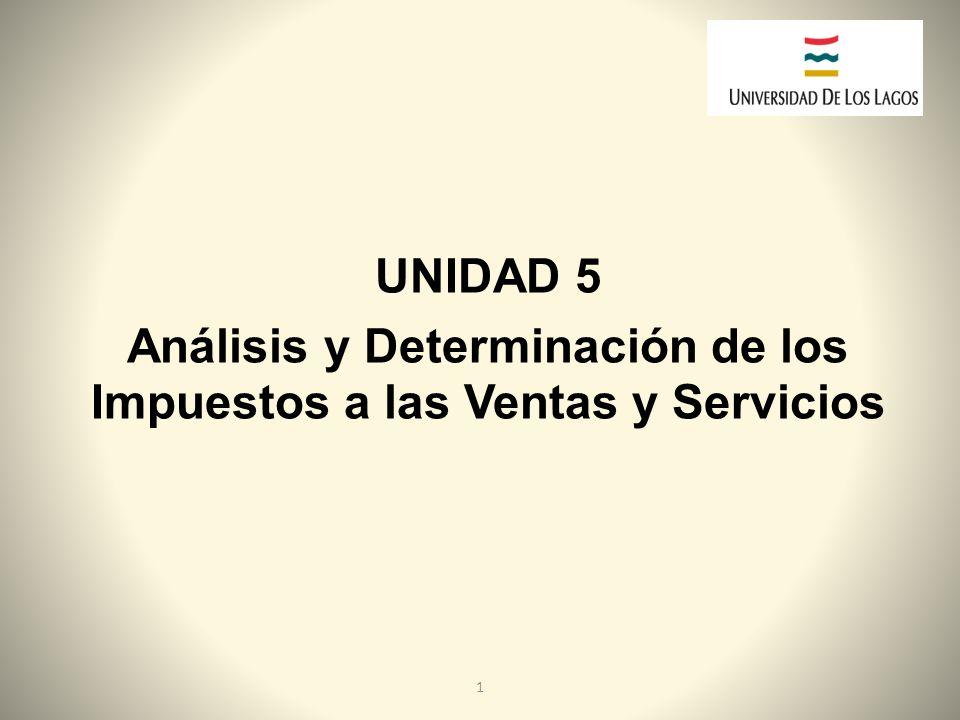 UNIDAD 5 Análisis y Determinación de los Impuestos a las Ventas y Servicios