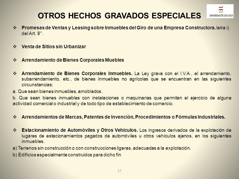 OTROS HECHOS GRAVADOS ESPECIALES