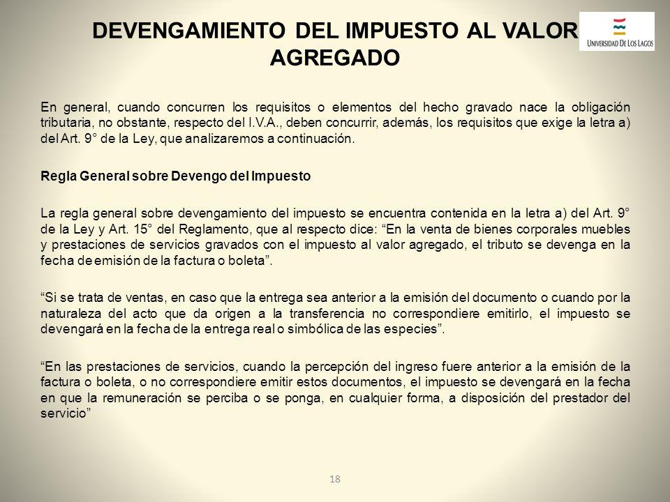 DEVENGAMIENTO DEL IMPUESTO AL VALOR AGREGADO