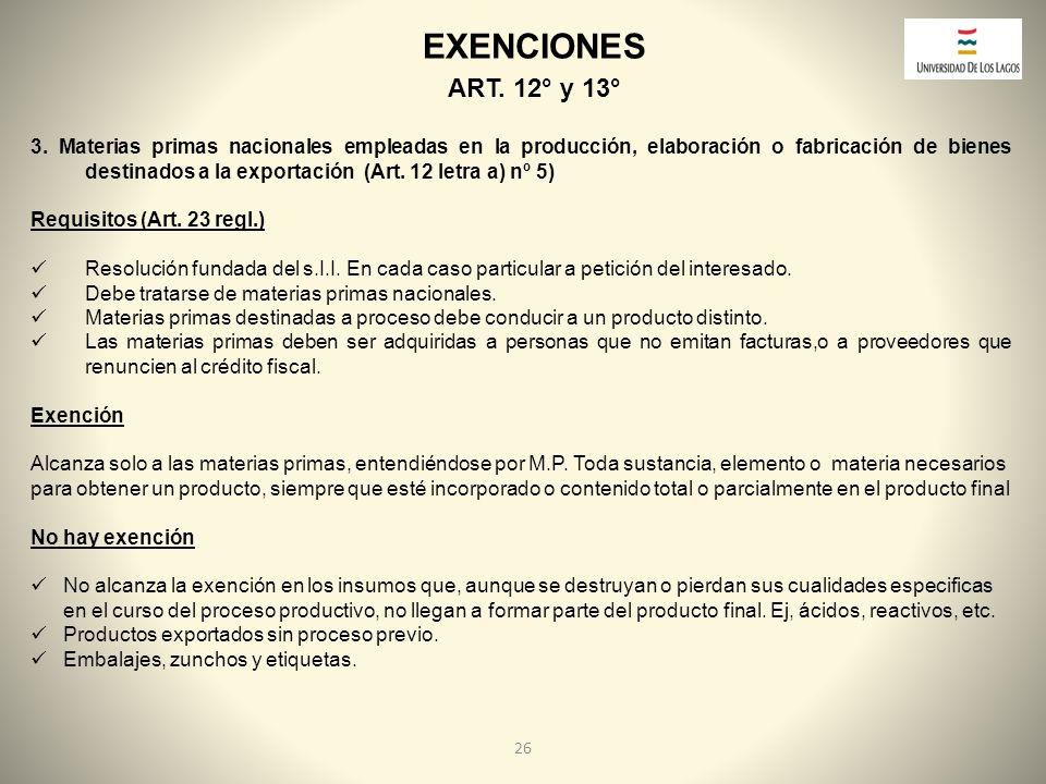 EXENCIONES ART. 12° y 13°