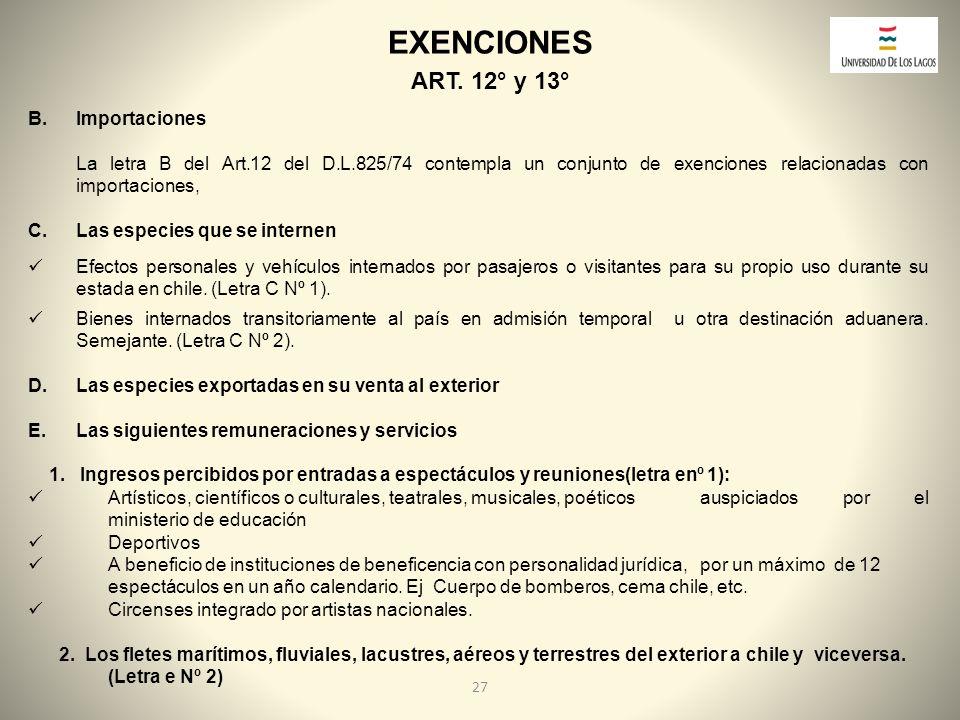 EXENCIONES ART. 12° y 13° Importaciones
