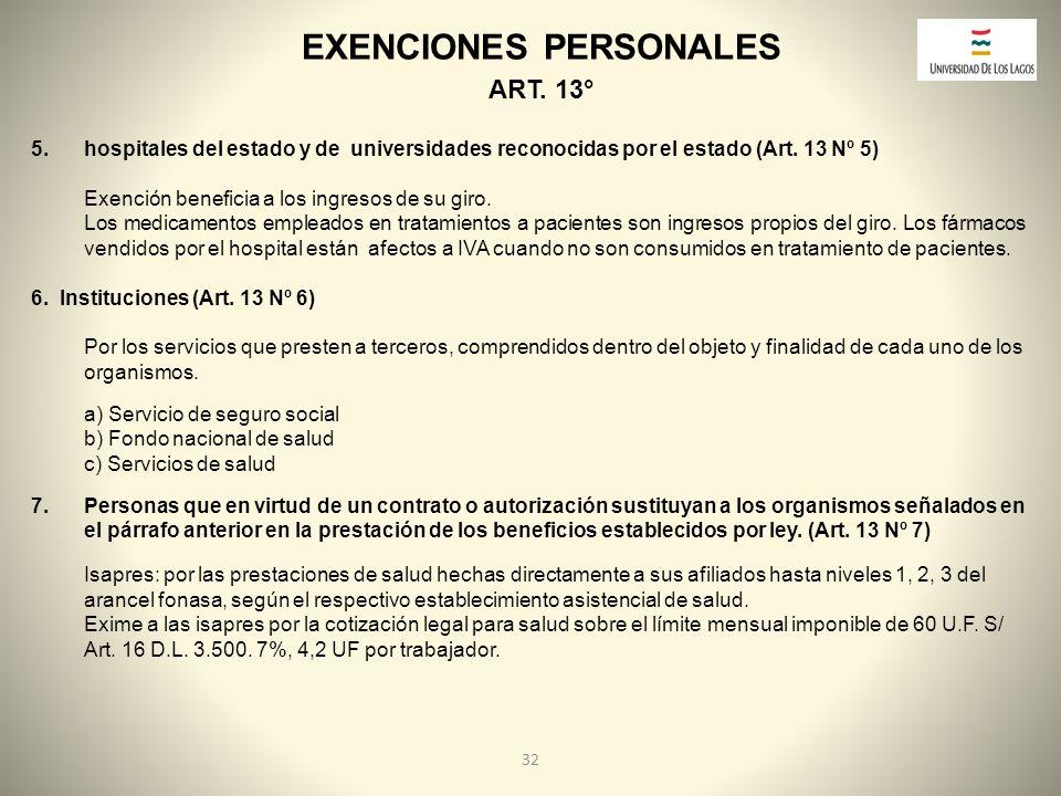 EXENCIONES PERSONALES