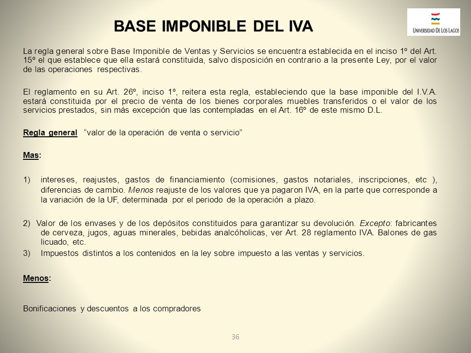 BASE IMPONIBLE DEL IVA