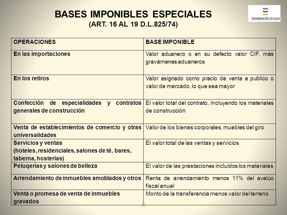 BASES IMPONIBLES ESPECIALES