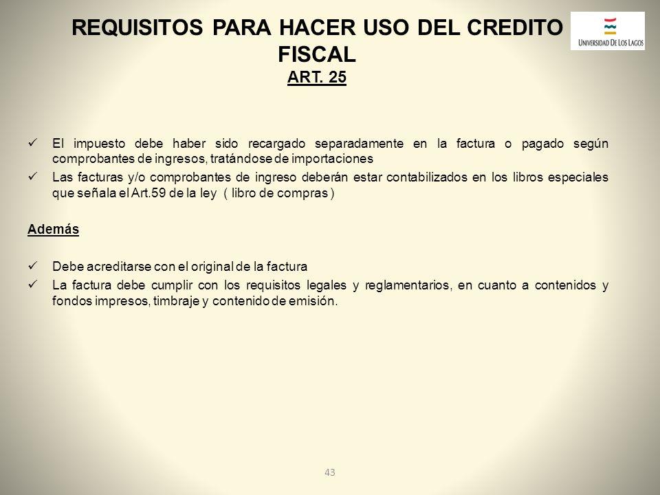 REQUISITOS PARA HACER USO DEL CREDITO FISCAL