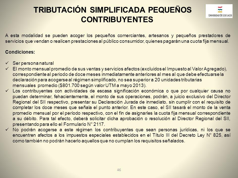 TRIBUTACIÓN SIMPLIFICADA PEQUEÑOS CONTRIBUYENTES