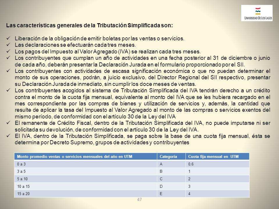 Las características generales de la Tributación Simplificada son: