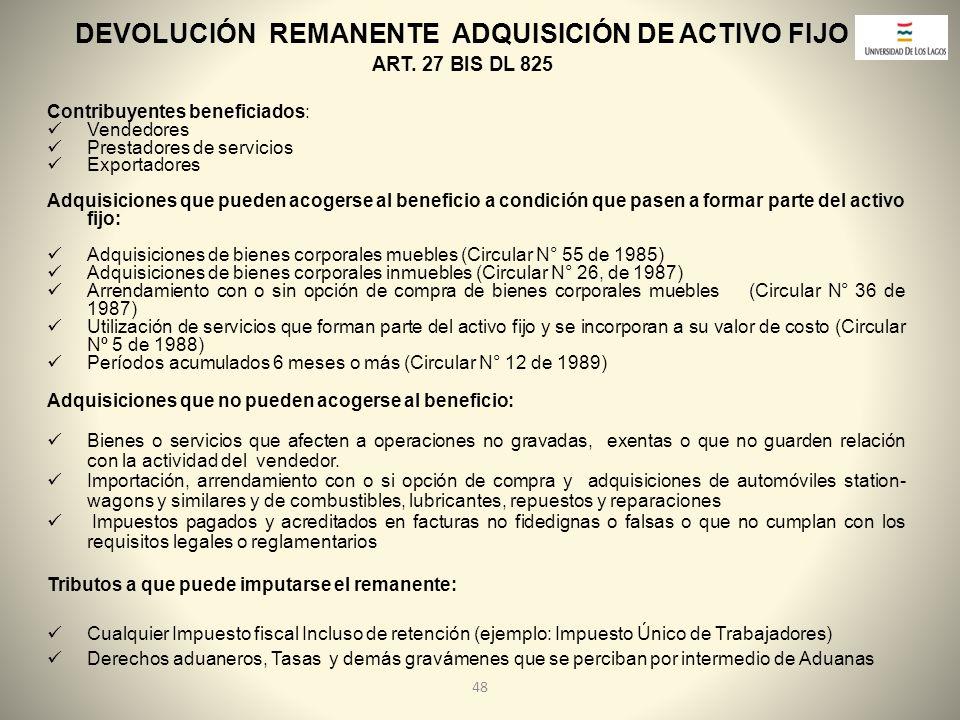 DEVOLUCIÓN REMANENTE ADQUISICIÓN DE ACTIVO FIJO
