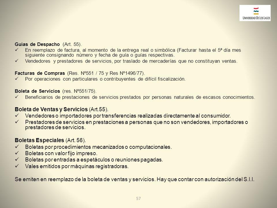 Boleta de Ventas y Servicios (Art.55).