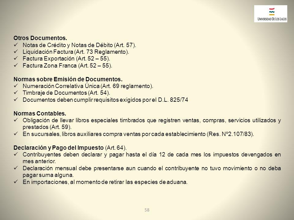 Notas de Crédito y Notas de Débito (Art. 57).