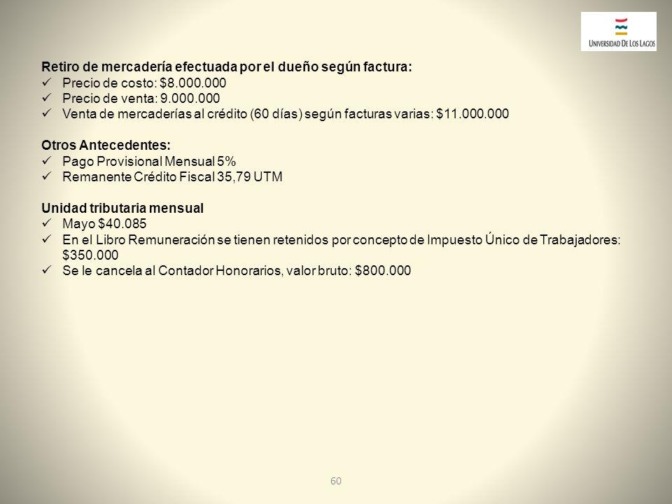Retiro de mercadería efectuada por el dueño según factura:
