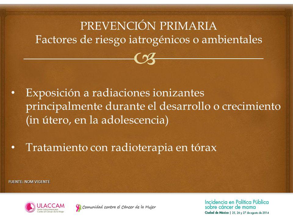 PREVENCIÓN PRIMARIA Factores de riesgo iatrogénicos o ambientales