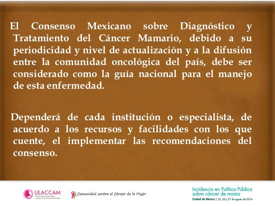 El Consenso Mexicano sobre Diagnóstico y Tratamiento del Cáncer Mamario, debido a su periodicidad y nivel de actualización y a la difusión entre la comunidad oncológica del país, debe ser considerado como la guía nacional para el manejo de esta enfermedad.