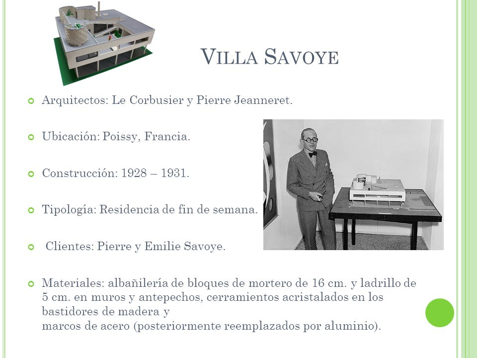 Villa Savoye Arquitectos: Le Corbusier y Pierre Jeanneret.