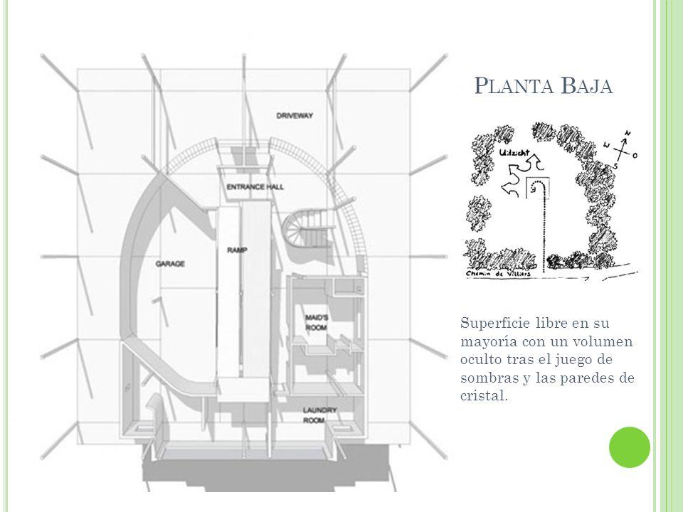 Planta BajaSuperficie libre en su mayoría con un volumen oculto tras el juego de sombras y las paredes de cristal.