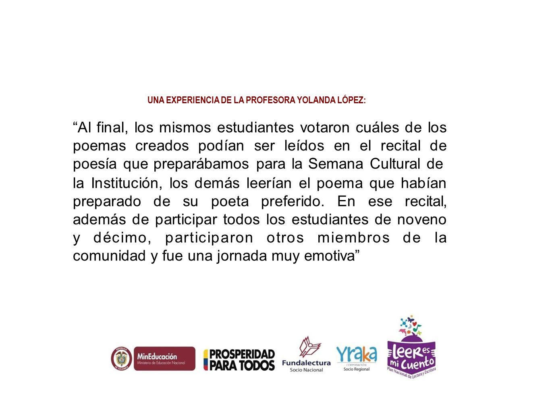 UNA EXPERIENCIA DE LA PROFESORA YOLANDA LÓPEZ: