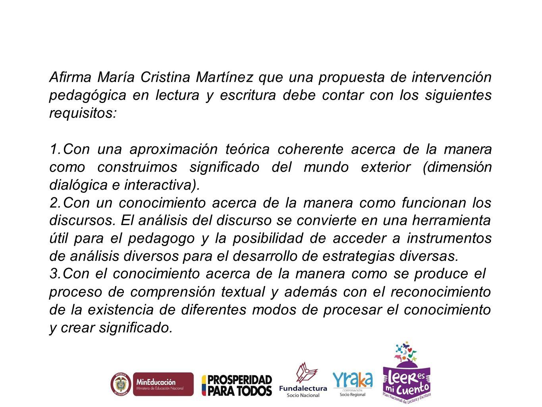 Afirma María Cristina Martínez que una propuesta de intervención pedagógica en lectura y escritura debe contar con los siguientes requisitos:
