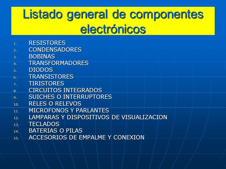 Listado general de componentes electrónicos