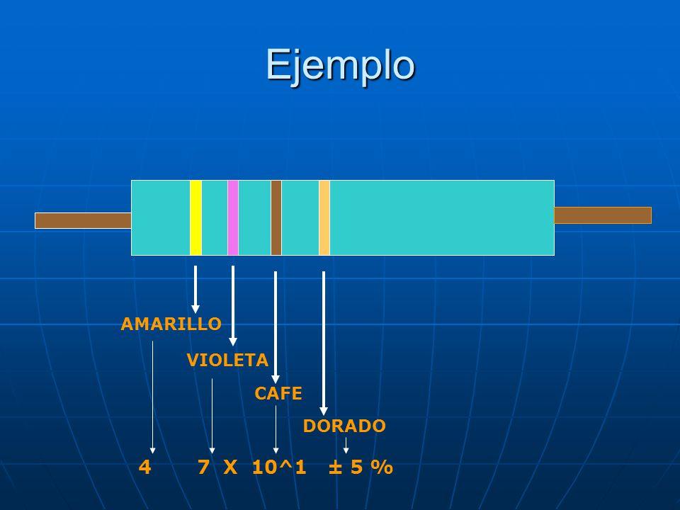 Ejemplo AMARILLO VIOLETA CAFE DORADO 4 7 X 10^1 ± 5 %