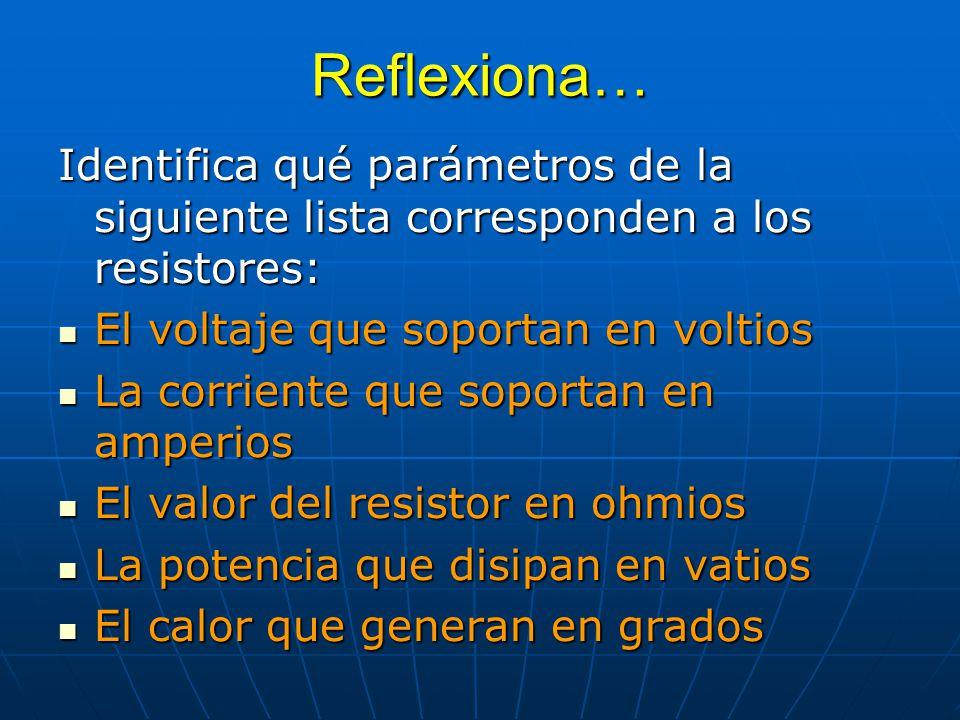 Reflexiona… Identifica qué parámetros de la siguiente lista corresponden a los resistores: El voltaje que soportan en voltios.