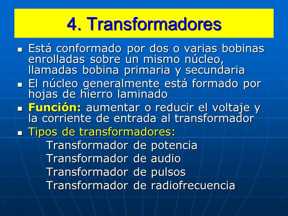 4. Transformadores Está conformado por dos o varias bobinas enrolladas sobre un mismo núcleo, llamadas bobina primaria y secundaria.