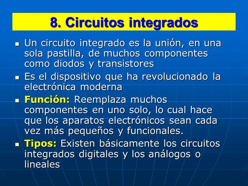 8. Circuitos integrados Un circuito integrado es la unión, en una sola pastilla, de muchos componentes como diodos y transistores.