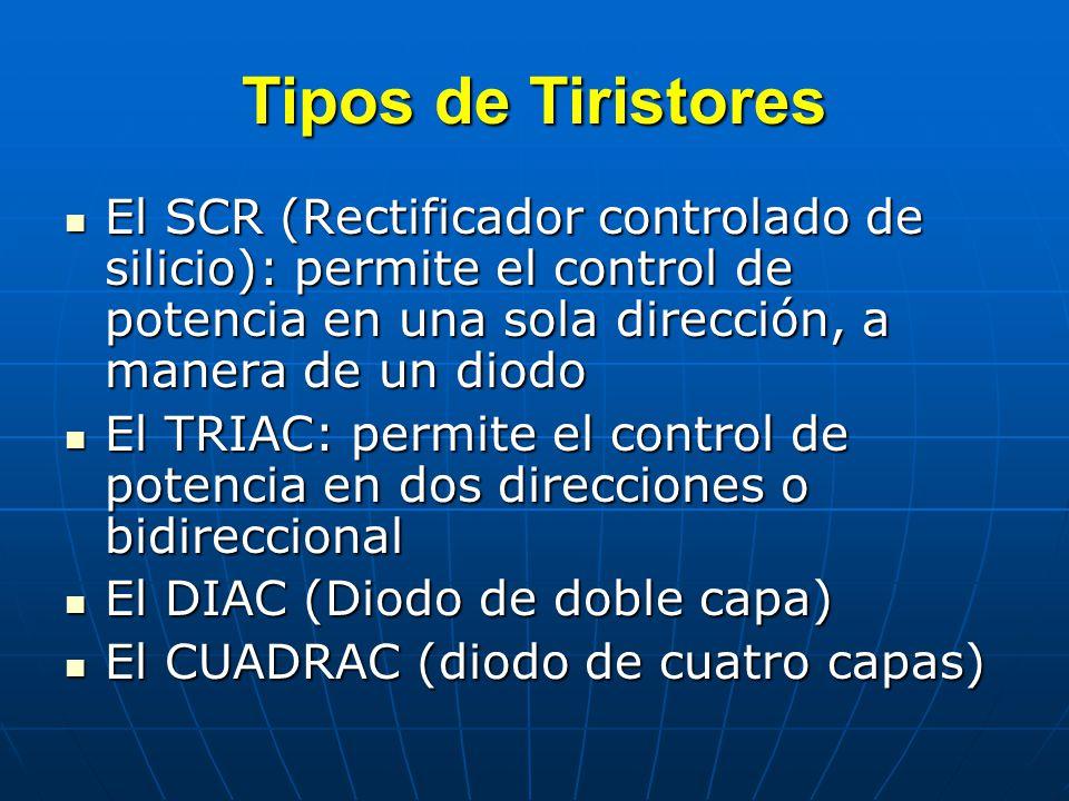 Tipos de Tiristores El SCR (Rectificador controlado de silicio): permite el control de potencia en una sola dirección, a manera de un diodo.