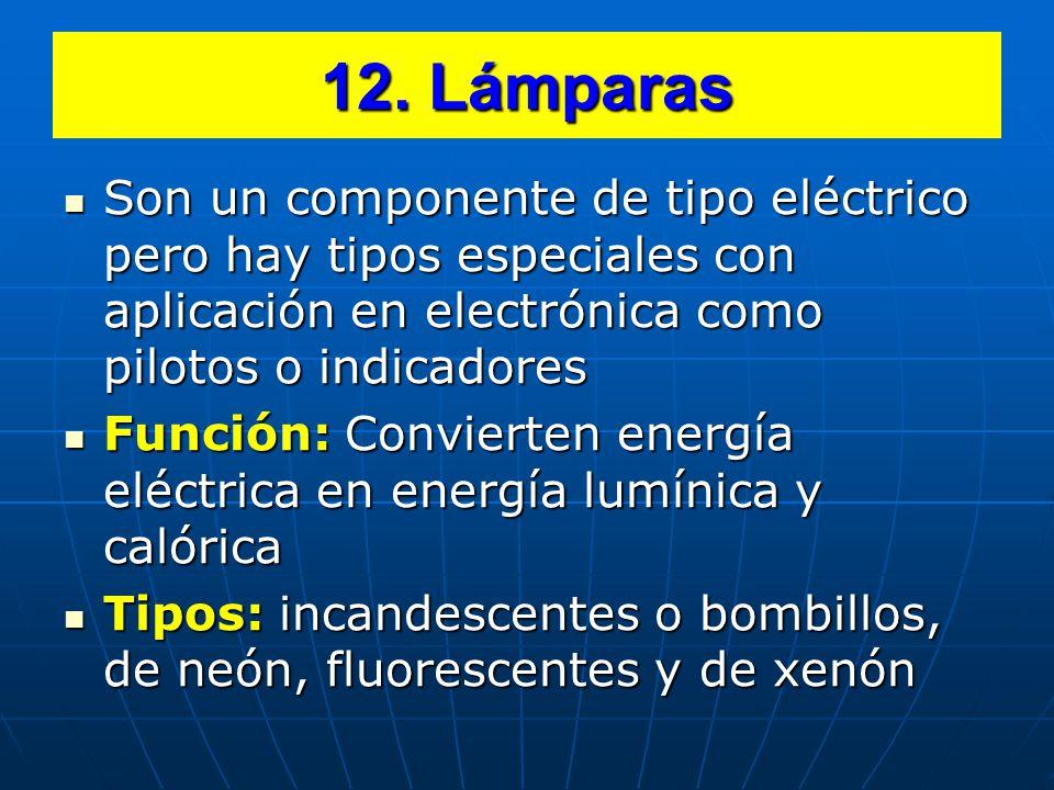 12. Lámparas Son un componente de tipo eléctrico pero hay tipos especiales con aplicación en electrónica como pilotos o indicadores.