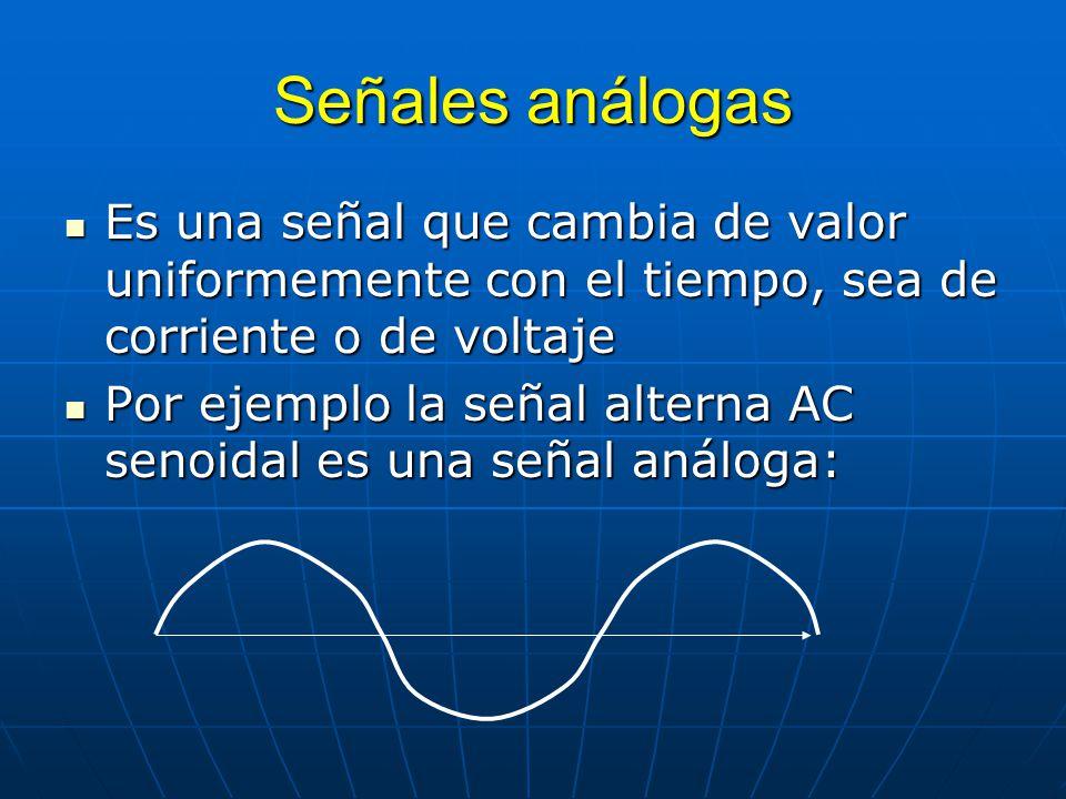 Señales análogas Es una señal que cambia de valor uniformemente con el tiempo, sea de corriente o de voltaje.