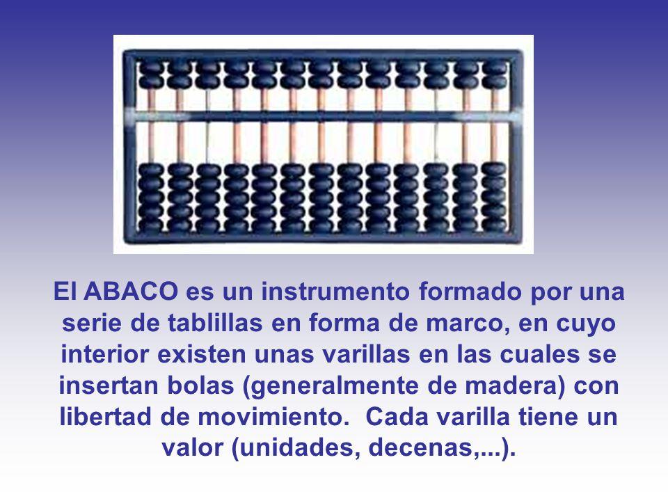 El ABACO es un instrumento formado por una serie de tablillas en forma de marco, en cuyo interior existen unas varillas en las cuales se insertan bolas (generalmente de madera) con libertad de movimiento.