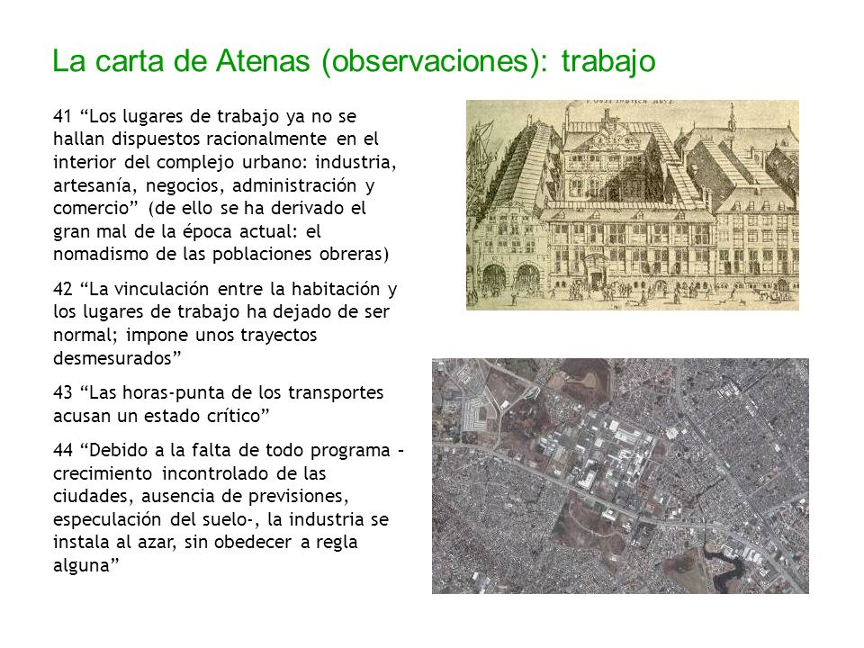 La carta de Atenas (observaciones): trabajo