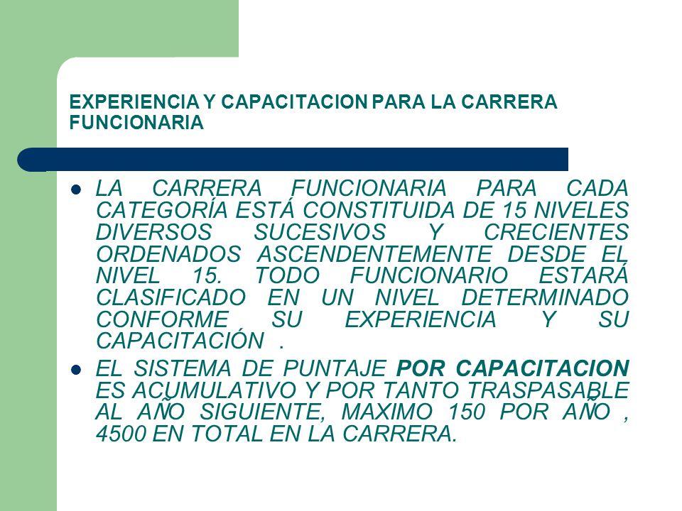 EXPERIENCIA Y CAPACITACION PARA LA CARRERA FUNCIONARIA