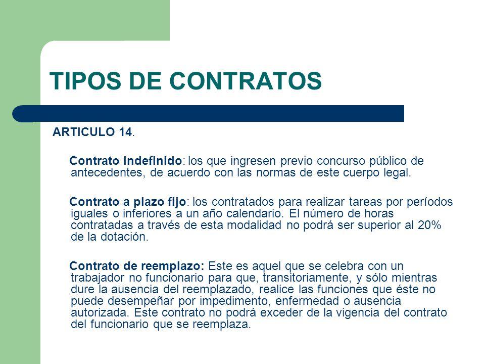 TIPOS DE CONTRATOS ARTICULO 14.