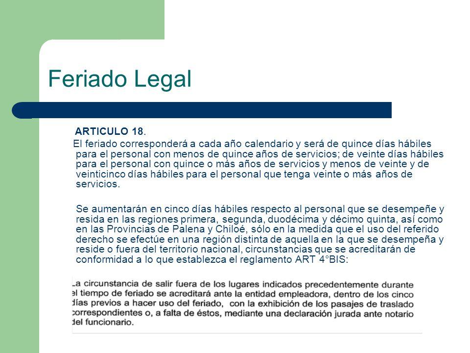 Feriado Legal ARTICULO 18.