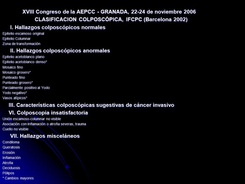 XVIII Congreso de la AEPCC - GRANADA, 22-24 de noviembre 2006